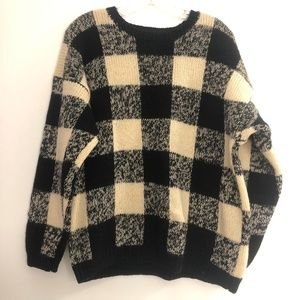 80s Vintage Gap Black Ivory fuzzy Sweater